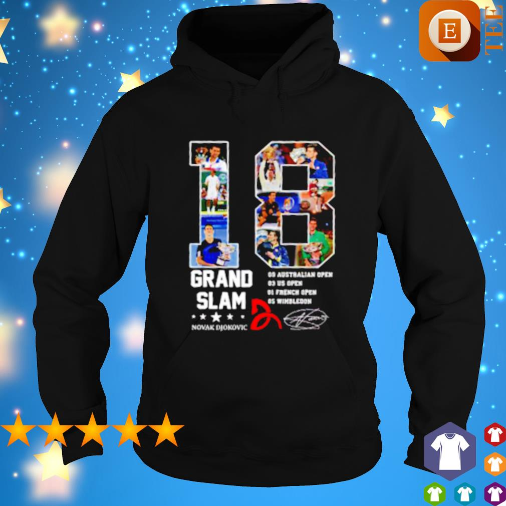 18 years of Grand Slam Novak Djokovic champions signature s hoodie