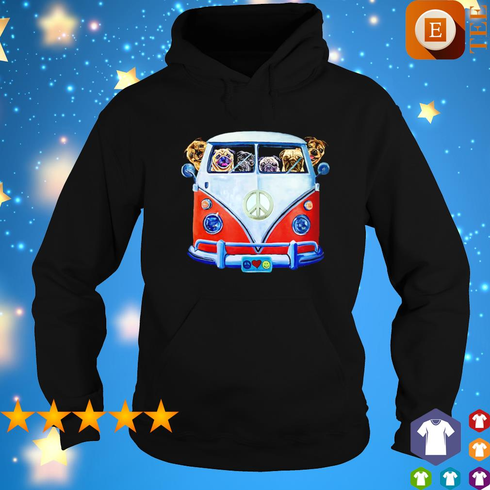 Pugs driving hippie car s hoodie