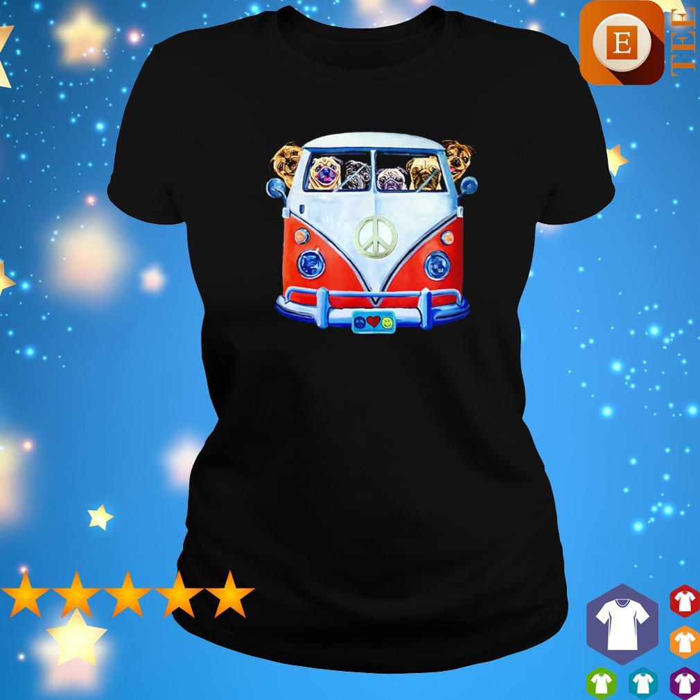 Pugs driving hippie car s ladies tee