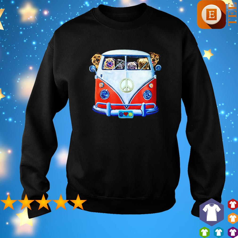 Pugs driving hippie car s sweater