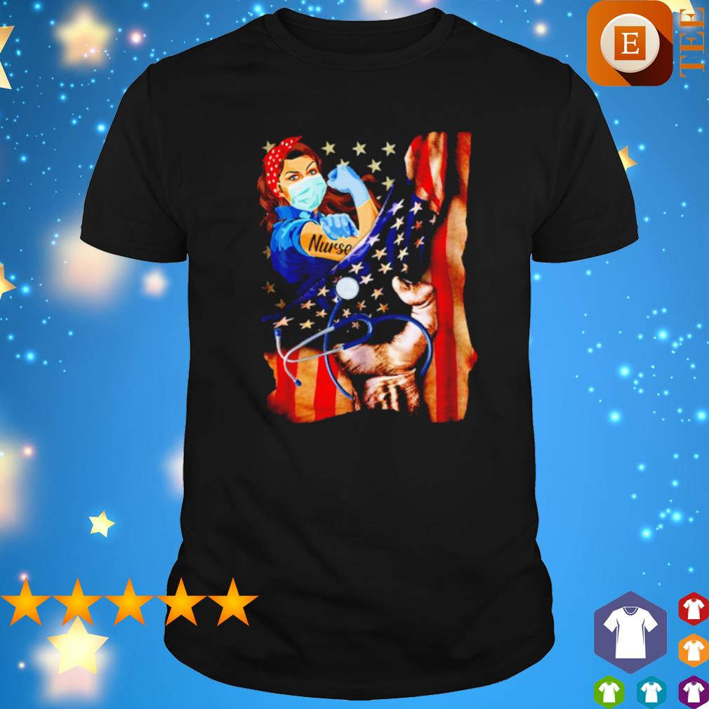 Strong Girl Nurse facemask inside American flag shirt