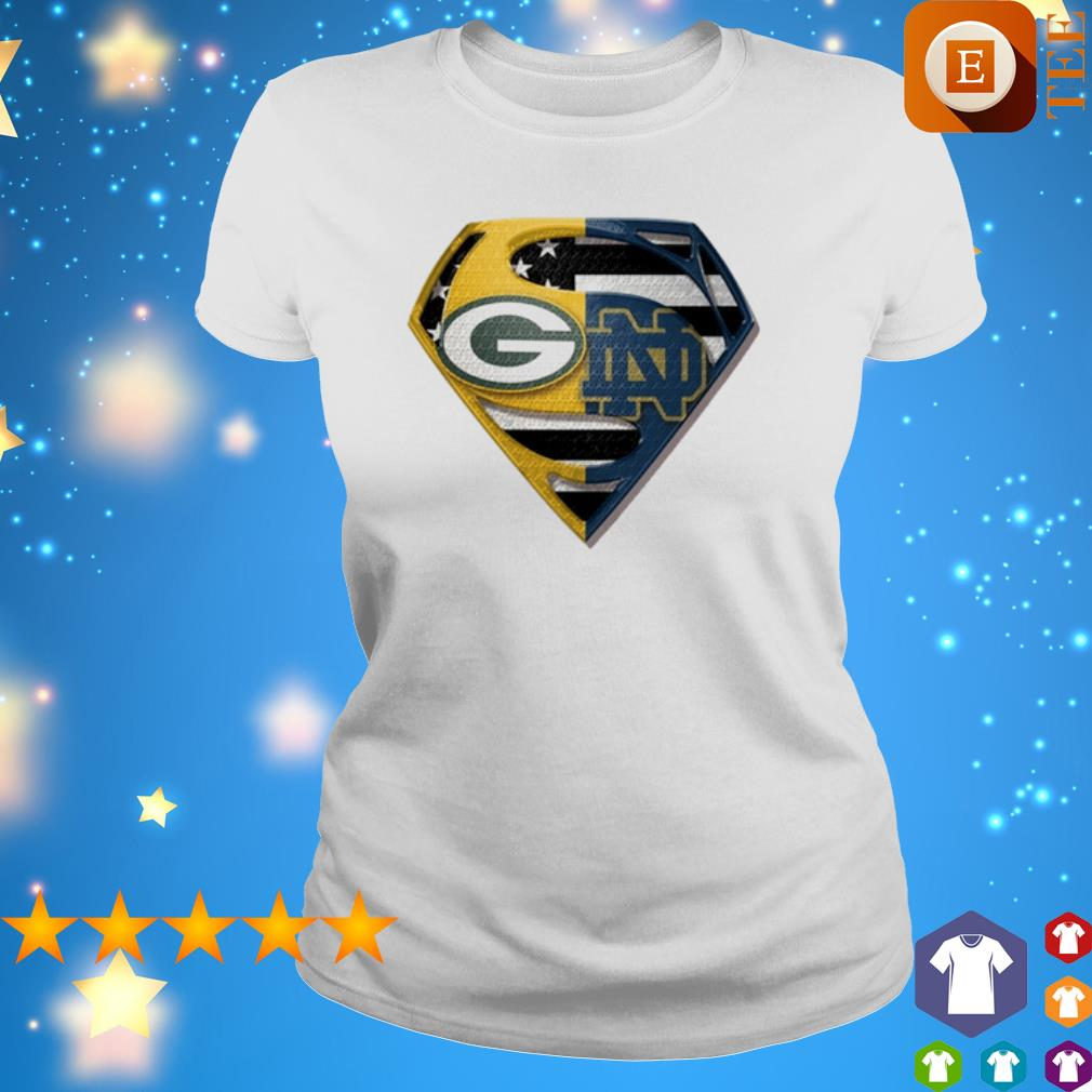 Superman Green Bay Packers and Notre Dame Fighting American flag s 4