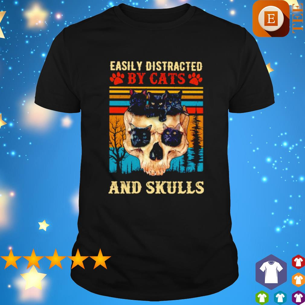 Easily Distracted By Cats And Skulls vintage shirt