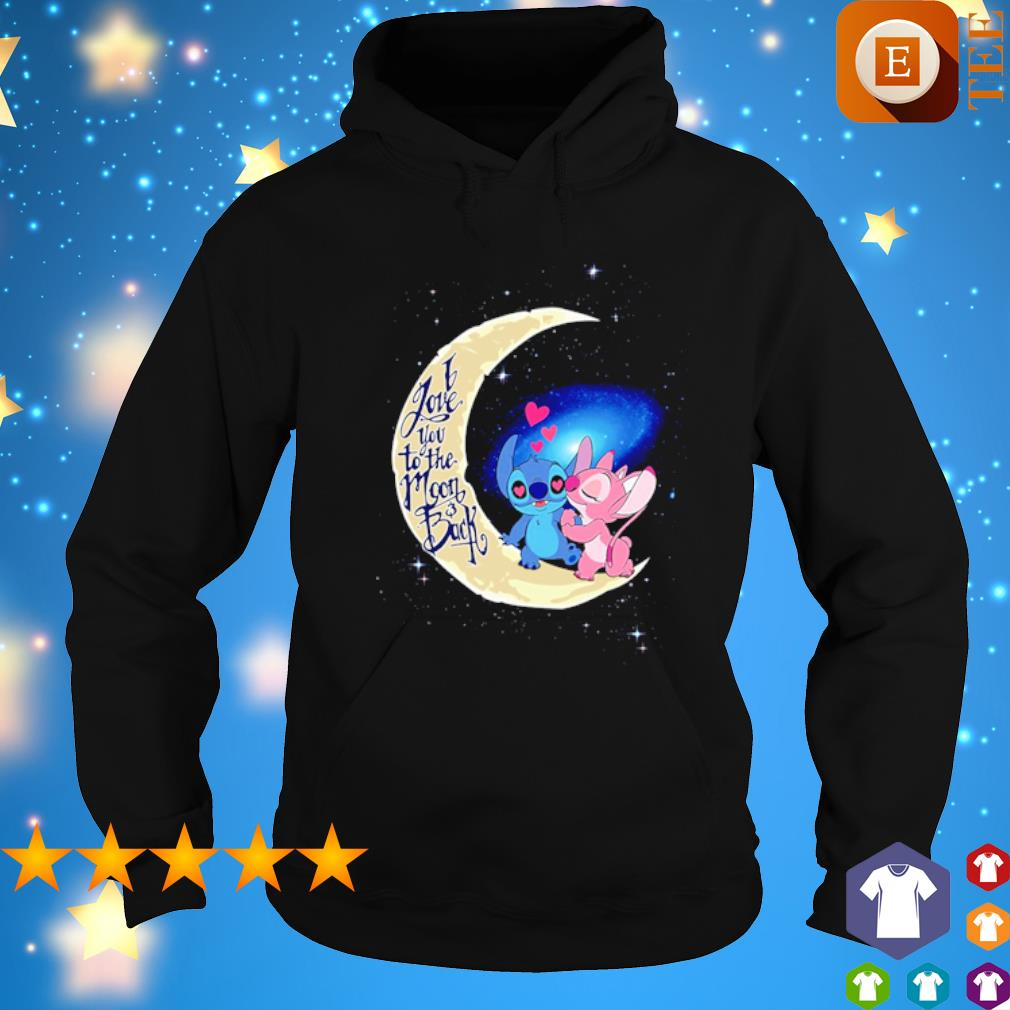 Stitch and Angel I love you to the moon and back s hoodie