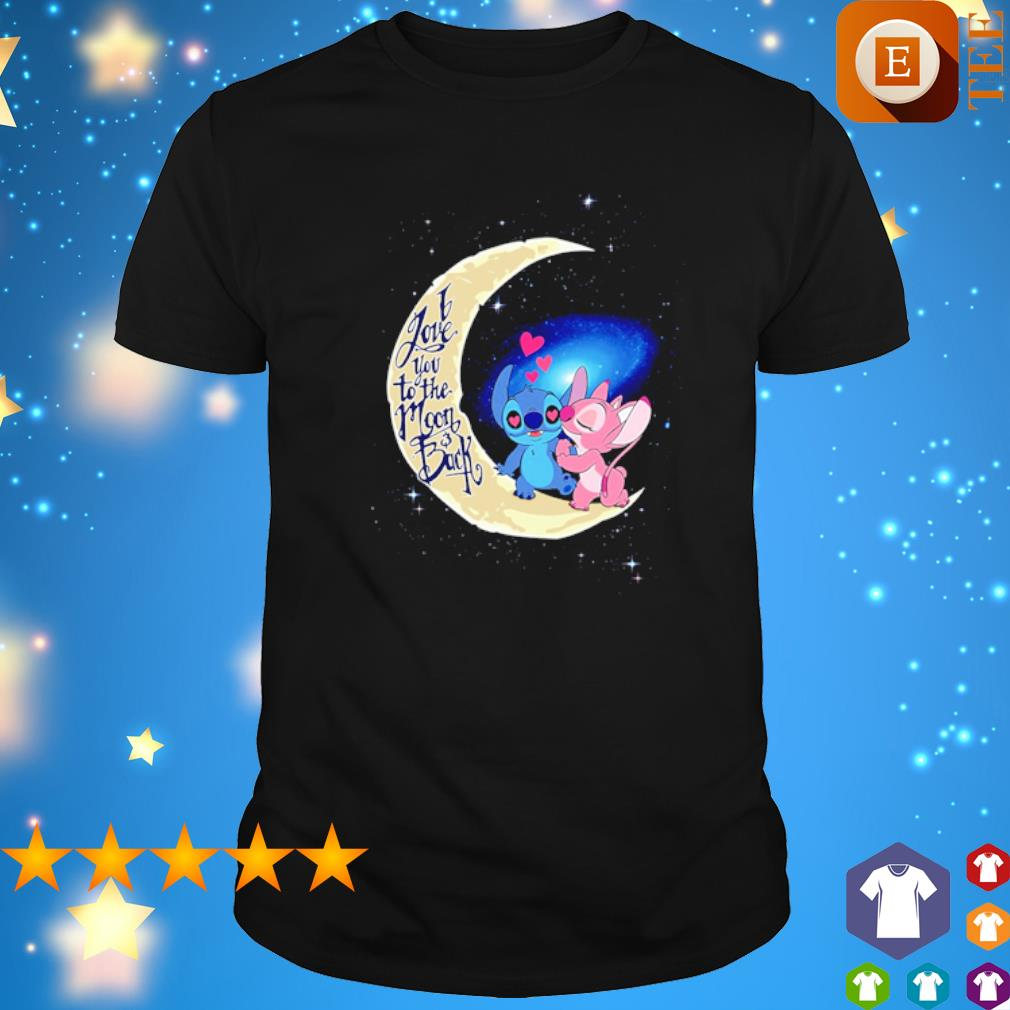 Stitch and Angel I love you to the moon and back shirt
