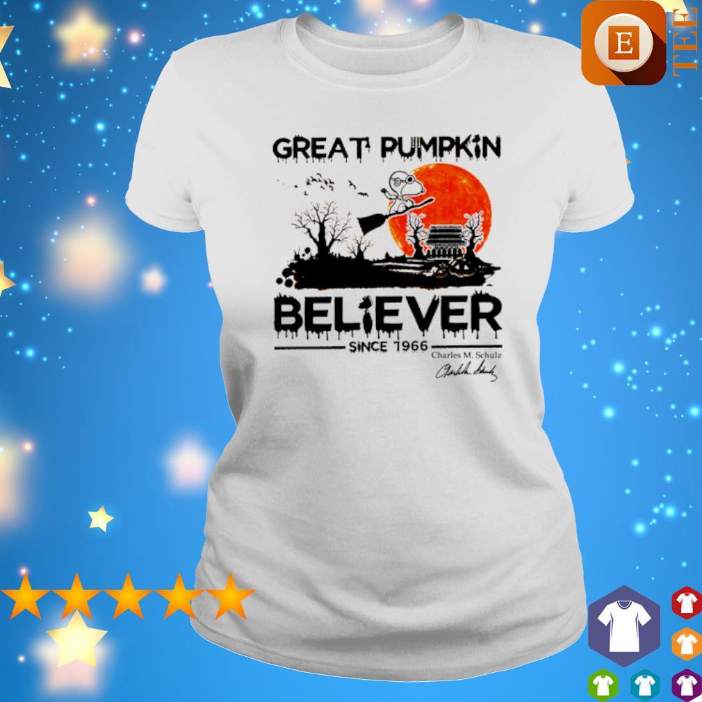 Snoopy great pumpkin believer since 1966 s ladies tee