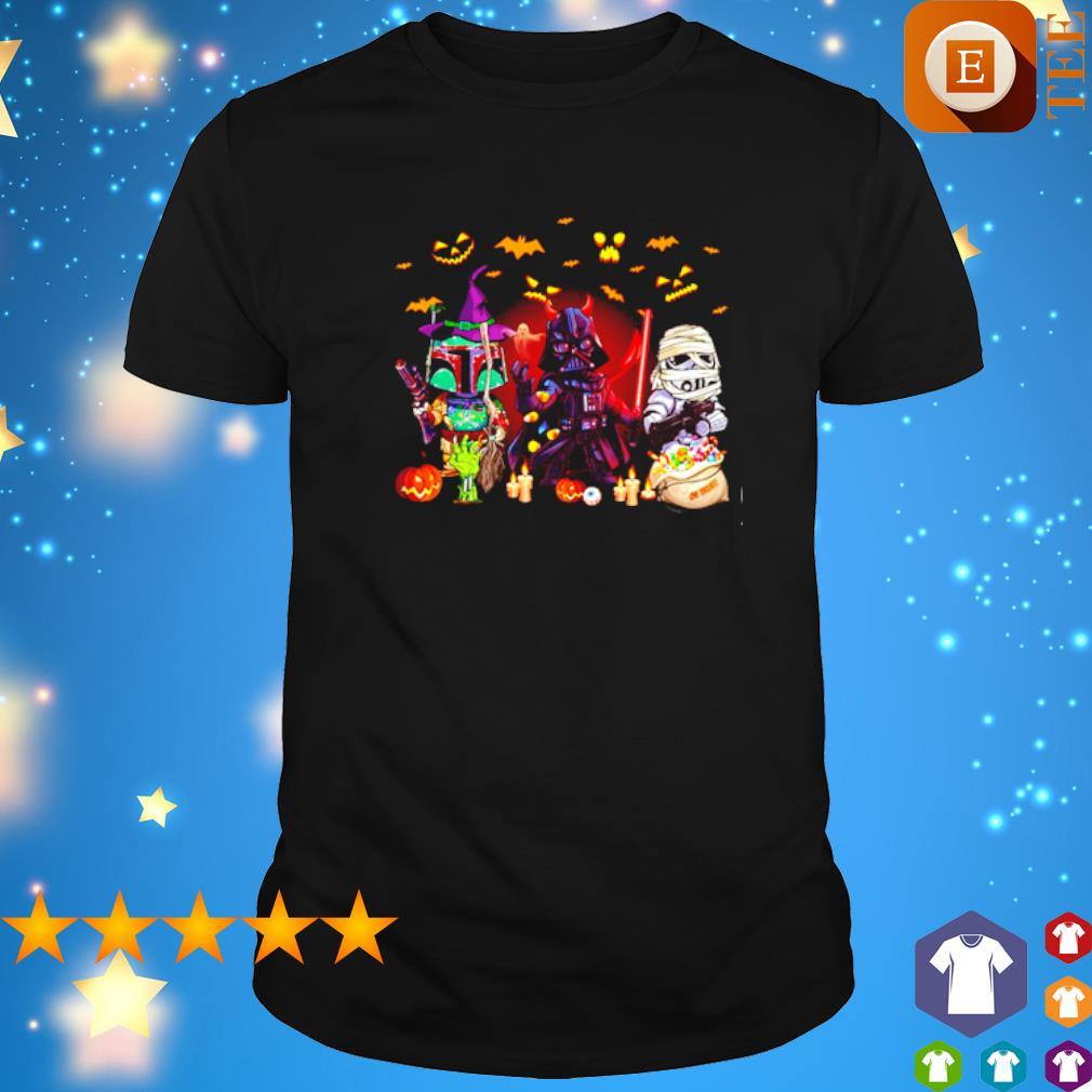 Boba Fett Darth Vader and Stormtrooper Happy Halloween shirt